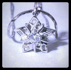 Jewelry - 18kt White Gold Diamond Star Shape Pendant